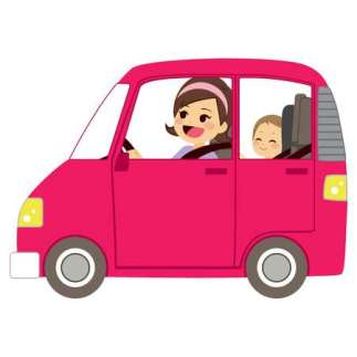53255946-stock-vector-beautiful-young-mom-driving-pink-car-with-baby-on-back-seat-of-vehicle